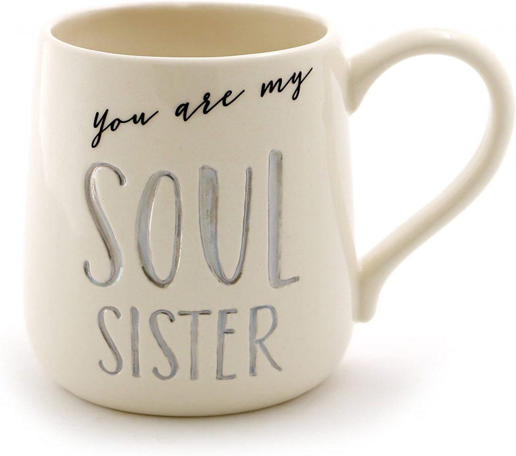 Tasse à café gravée en grès Soul Sister